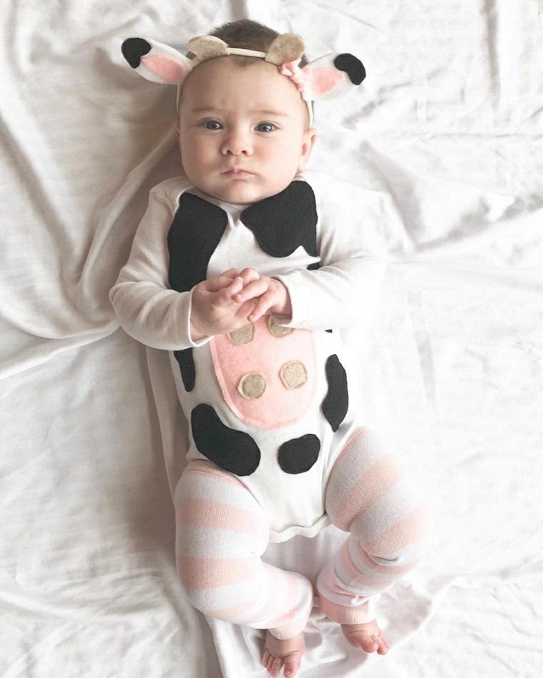 Costume carnevale neonato, bimbo travestito da mucca, tutina con macchie nere, cerchietto con orecchie