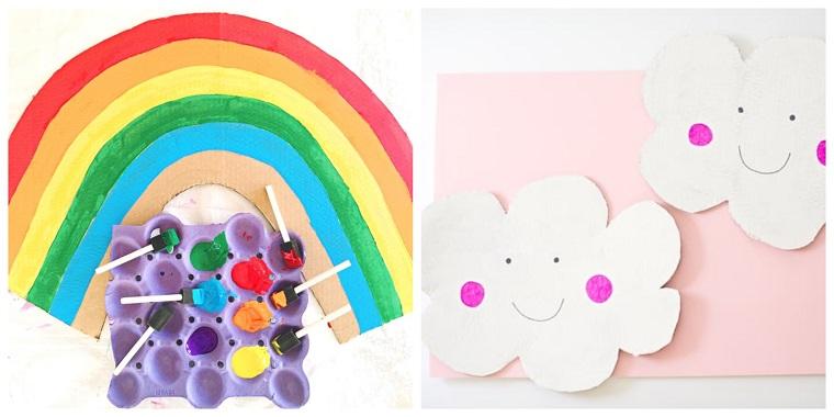 Nuvole di carta con faccine, colorare con colori acrilici, disegno arcobaleno colorato