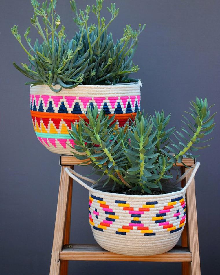 Vasi di piante in tessuto, piante con foglie verdi, regali originali per lei, scala di legno