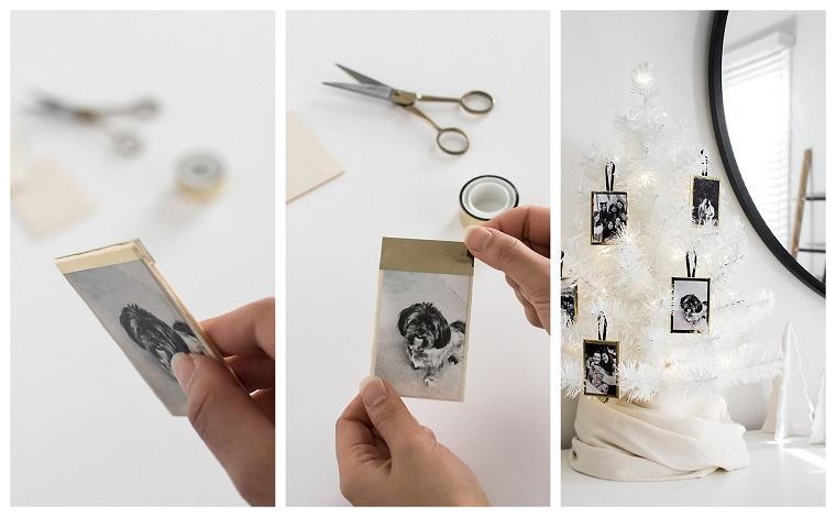 Tutorial portafoto fai da te, idee regalo natale per lei, albero di Natale bianco
