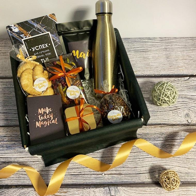 Regali originali per lui, scatola regalo per natale, cioccolato e bottiglia termos