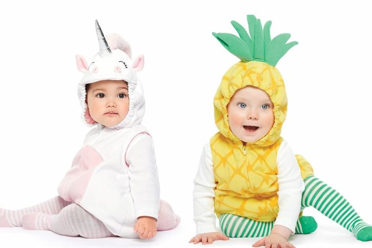 Vestiti carnevale neonato, due bimbi travestiti, bimba tuta unicorno, bimbo tuta ananas