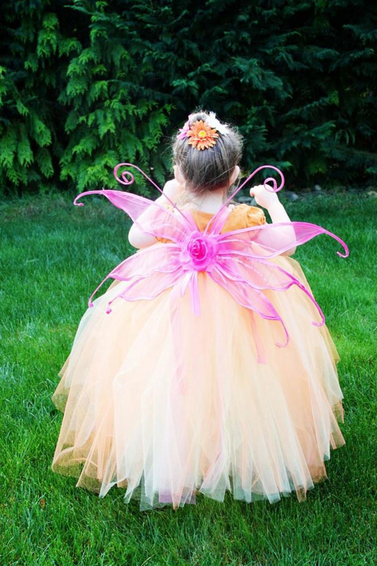 Vestiti carnevale bimba 2 anni, bimba travestita da fata, abito con tulle colorato, ali di farfalla