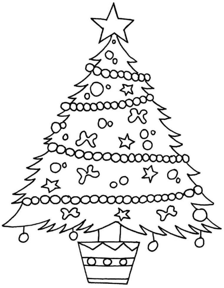 Albero di Natale da colorare, disegno albero con addobbi, schizzo natalizio per bambini