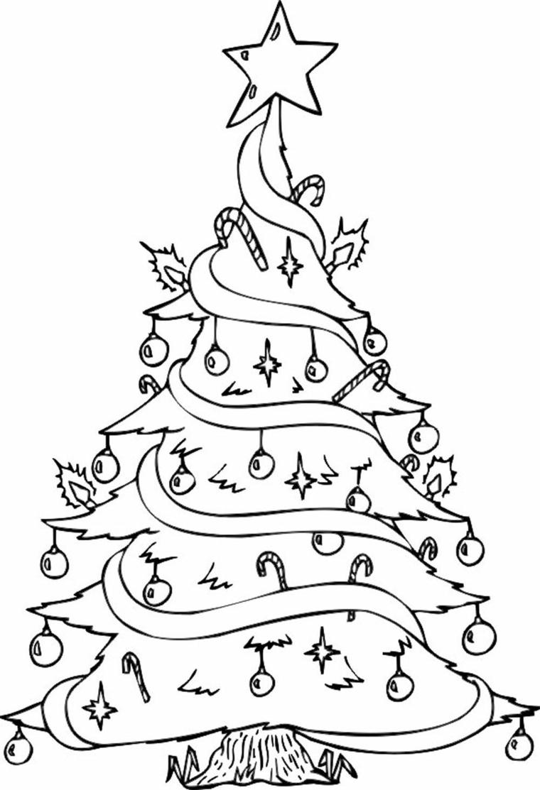 Disegni di Natale da ritagliare, albero con addobbi, schizzo da colorare, albero con stella in cima