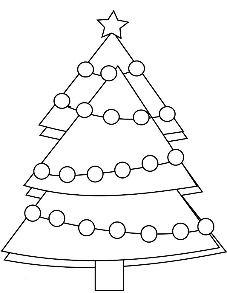 Schizzo albero di Natale semplice, schizzo da colorare, disegni natalizi per bambini