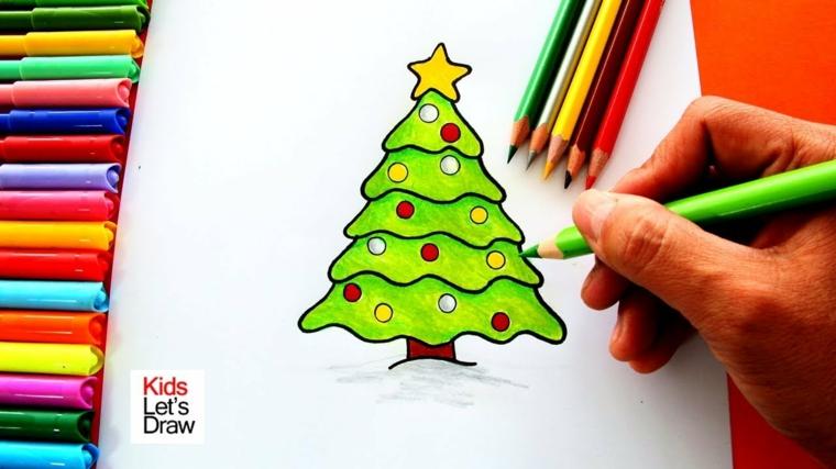 Disegni a matita, pennarelli colorati, albero colorato di verde, disegni di Natale da ritagliare