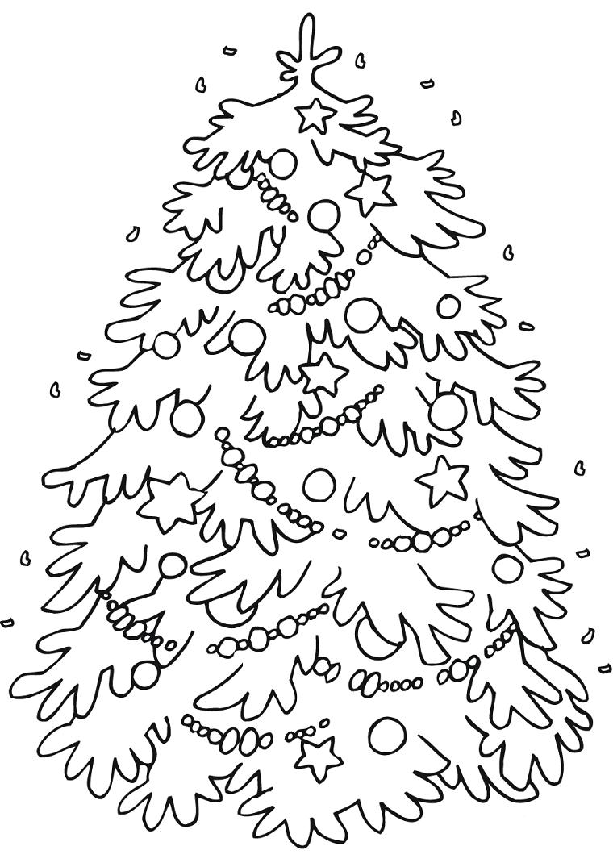 Disegni natalizi per bambini, albero di Natale con palline, addobbi di Natale da colorare