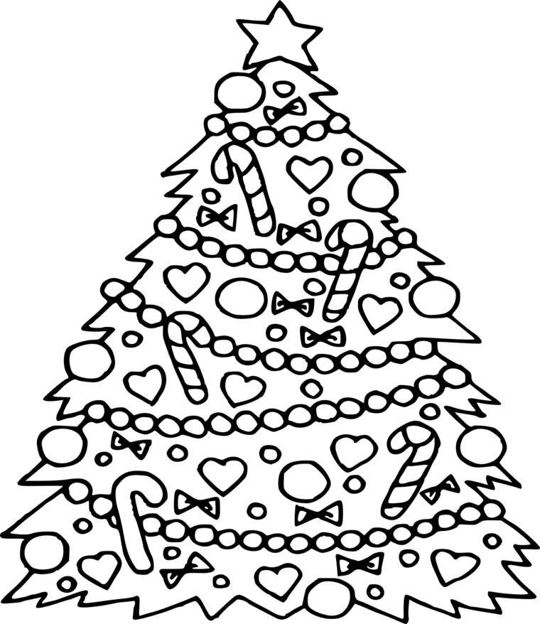 Disegni di Natale facili da disegnare, schizzo da colorare, albero di Natale con addobbi