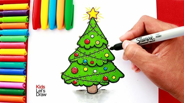 Disegni da ricopiare facili, albero di Natale colorato, disegnare con pennarelli