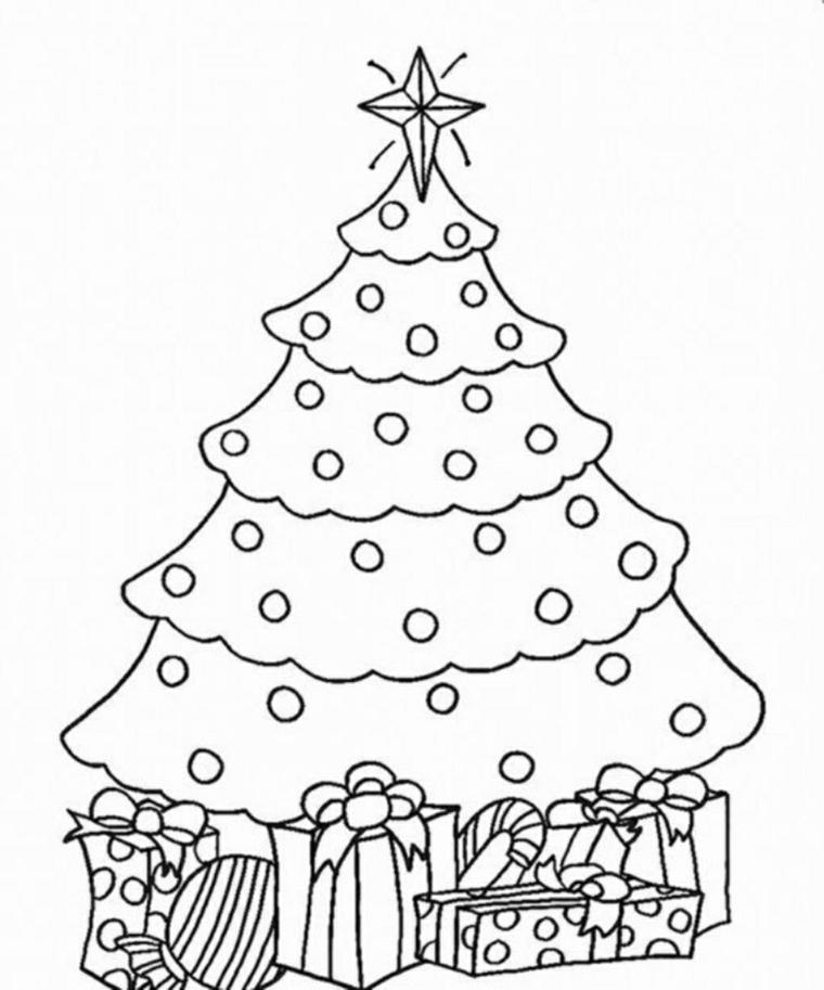 Albero natalizio con stella, pacchi regalo da colorare, disegni natalizi da colorare
