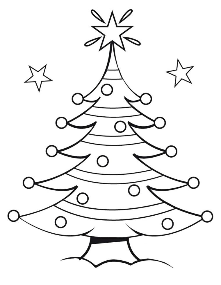 Palline natalizie e stella, schizzo da colorare, disegni natalizi per bambini, albero con addobbi