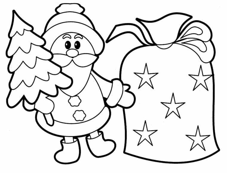 Disegno di Babbo Natale, schizzo di una campana, schizzo da colorare, piccolo albero natalizio