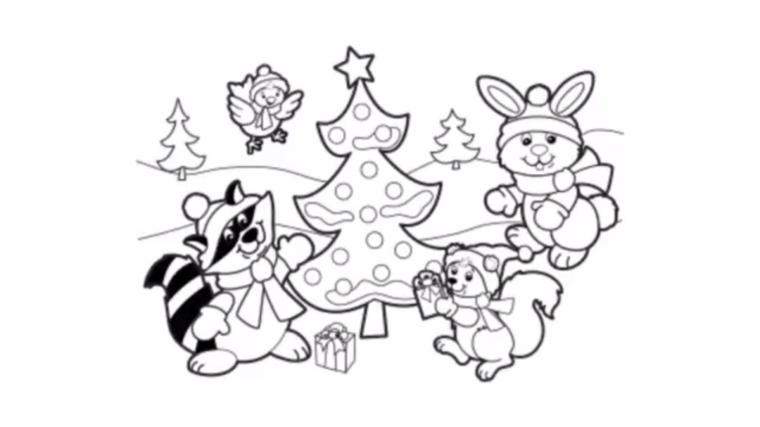 Disegni da ricopiare facili, animaletti e un albero, schizzo da colorare per bambini