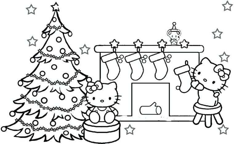 Disegni di Natale facili da disegnare, il gattino Hello Kitty, schizzo di un albero natalizio