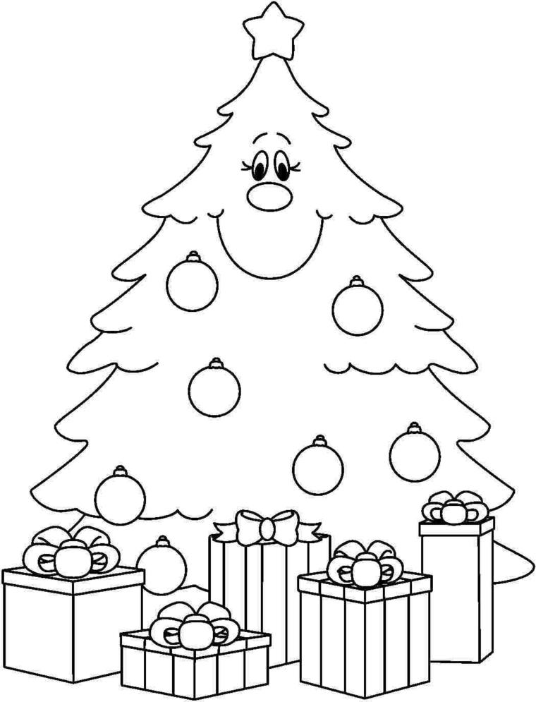 Schizzo di un albero di Natale, disegni da ricopiare facili, pacchi regalo sotto l'albero
