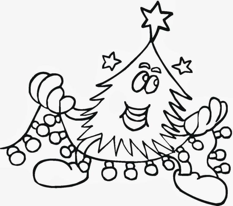 Albero di Natale da colorare, albero natalizio con faccina, ghirlanda con lucine da colorare