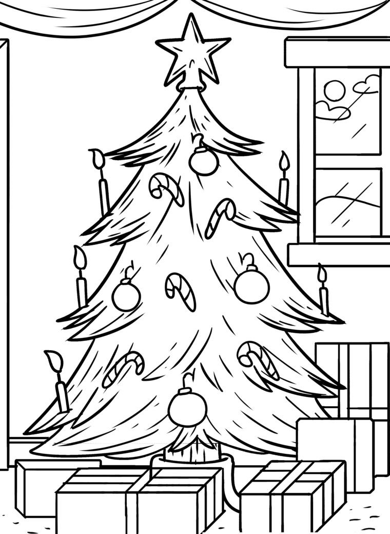 Disegni natalizi per bambini, schizzo di un albero natalizio, albero con palline