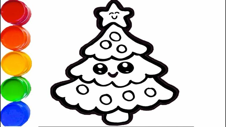 Disegni natalizi per bambini, albero di natale kawaii, colori acrilici in barattolini