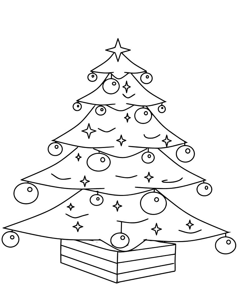 Albero di Natale con palline, disegni di Natale da ritagliare, palline e stelline come addobbi