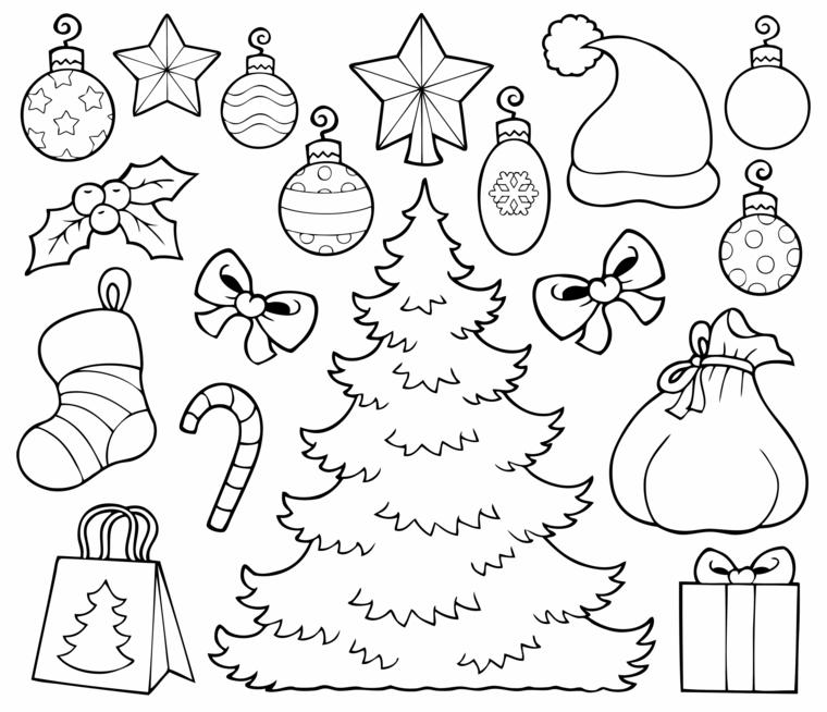Decorazioni per albero di Natale, albero di natale da colorare, disegni di addobbi natalizi
