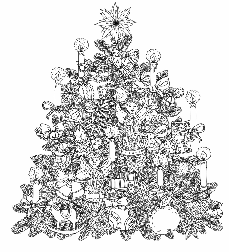 Schizzo con ornamenti da colorare, albero con stella in cima, decorazioni con candele, disegni di natale facili da disegnare