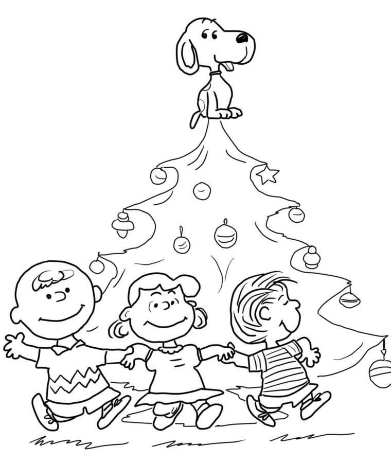 Disegni di Natale facili da disegnare, albero con palline, schizzi di bambini da colorare
