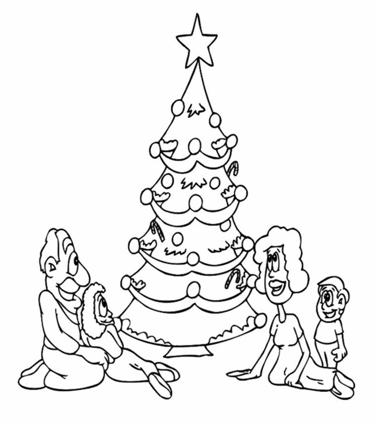 Disegni di Natale facili da disegnare, schizzo di un albero natalizio, albero con stella in cima