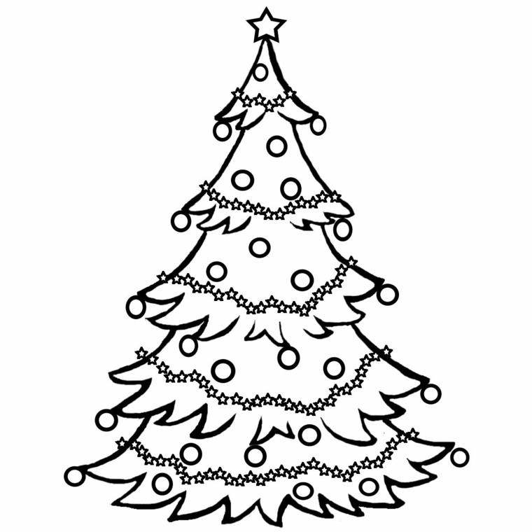 Disegni da ricopiare facili, albero con palline, schizzo di albero con ghirlande