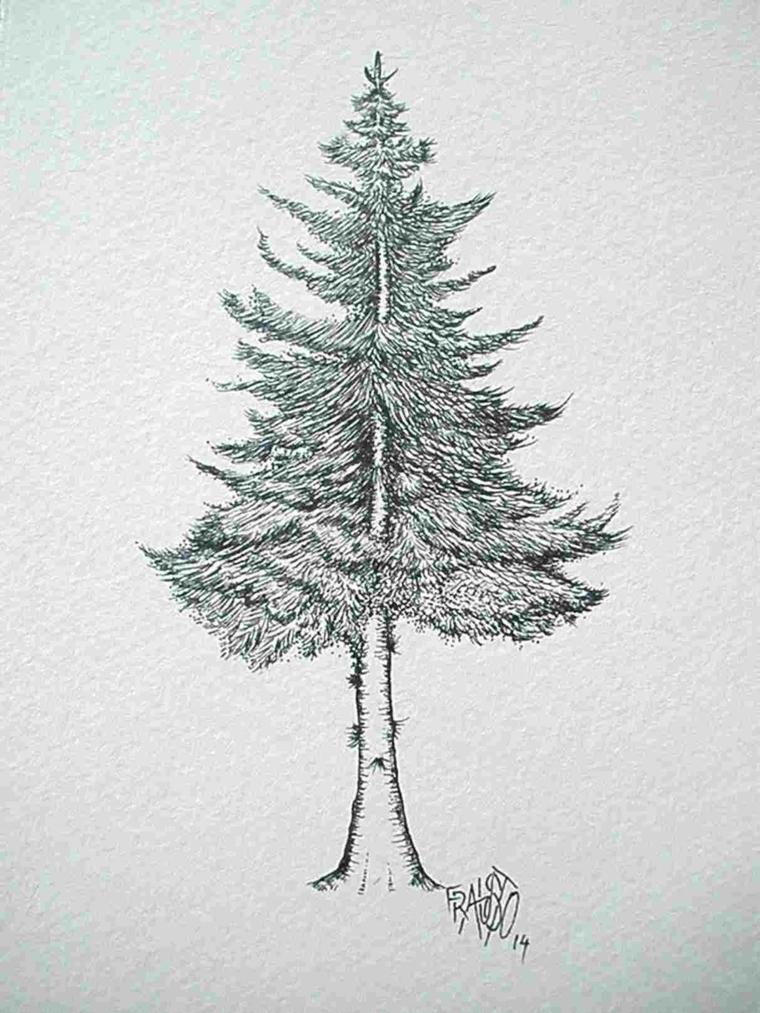 Disegni a matita, schizzo di un albero, disegni di Natale facili da disegnare