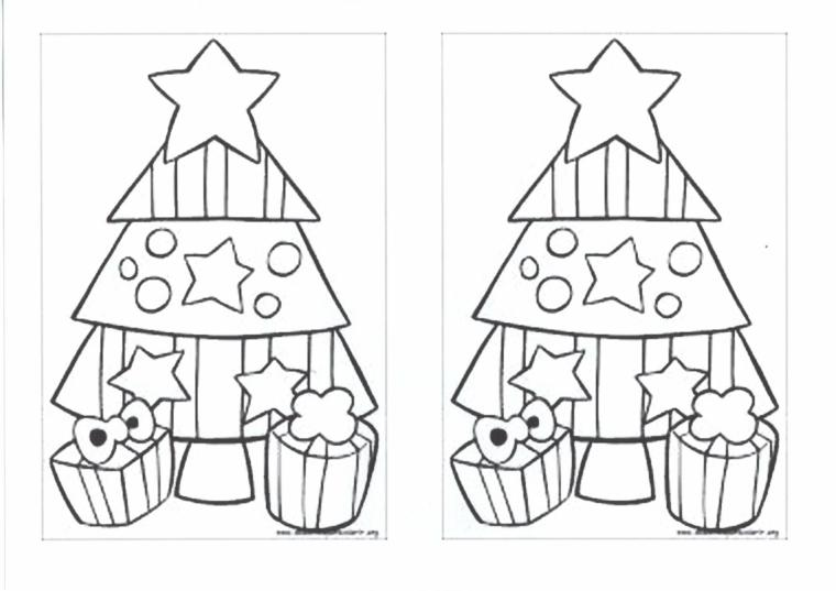 Disegno di un albero di natale, addobbi con stelle palline, pacchi regalo da colorare