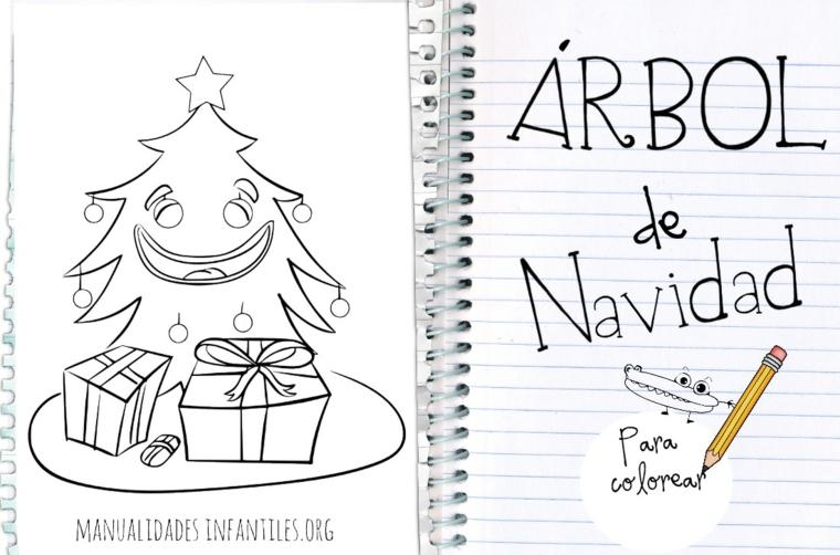 Immagini natalizie da colorare, albero di Natale con faccia, pacchi regalo da colorare, scritta in spagnolo