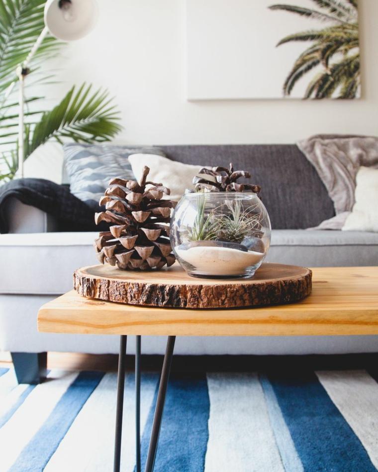 Idee regalo per fidanzata, vaso con giardino in miniatura, pigna grande, tronco di legno