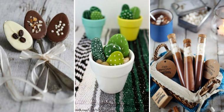 Idee regalo per donna, cucchiai con cioccolato, cestino con regalini natalizi