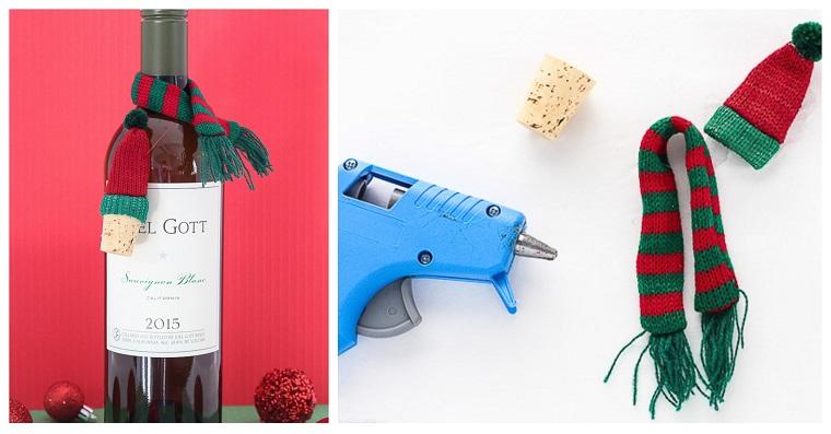 Regali originali per lui, regalino natalizio, bottiglia di vino decorata, tappo di sughero e pistola per colla