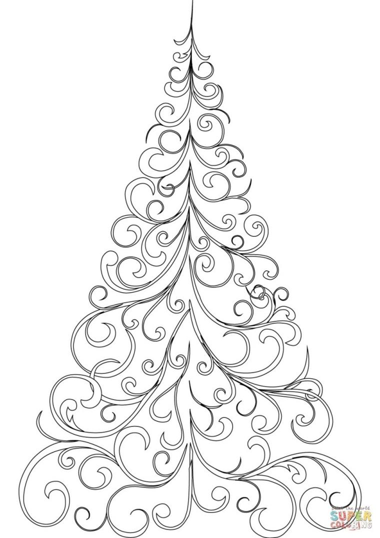 Albero di Natale con ornamenti, disegni a matita, schizzo da colorare, albero di natale da colorare