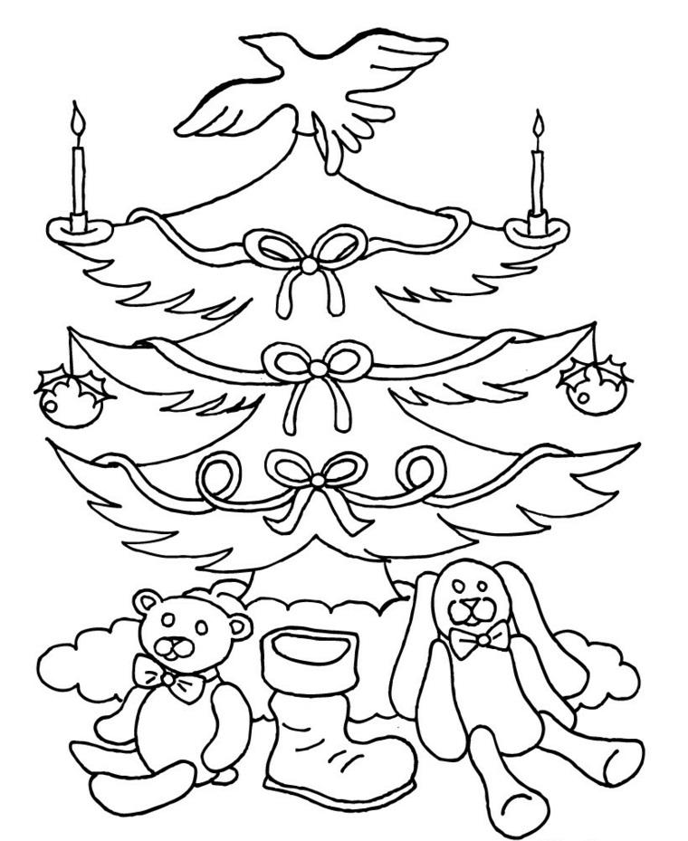 Albero di Natale con addobbi, decorazioni con ghirlande, candele e fiocchi, peluche da colorare