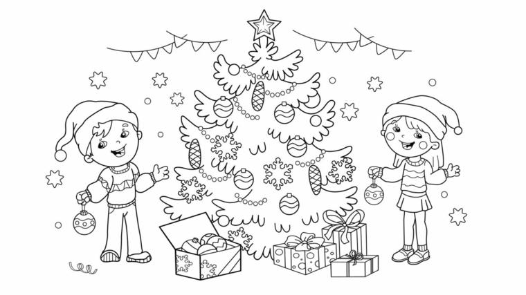 Disegni di bambini che addobbano, albero natalizio con addobbi, schizzo da stampare