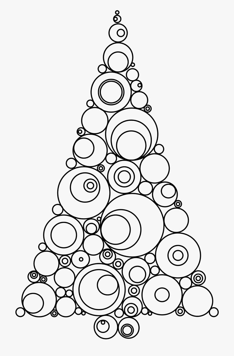 Disegni di Natale facili da disegnare, albero con cerchi, schizzo per bambini da colorare