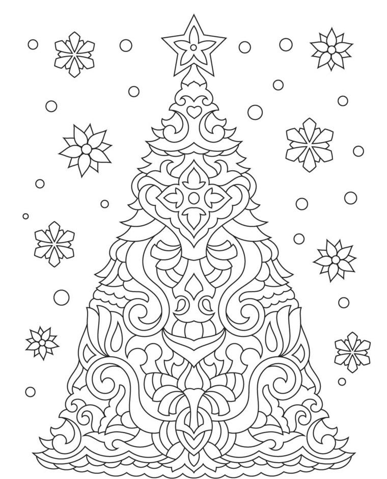 Albero di Natale con ornamenti, schizzo natalizio da colorare, disegni natalizi da colorare