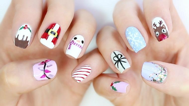 Unghie natalizie 2019, disegni sulle unghie, smalto bianco con disegni, unghie forma quadrata