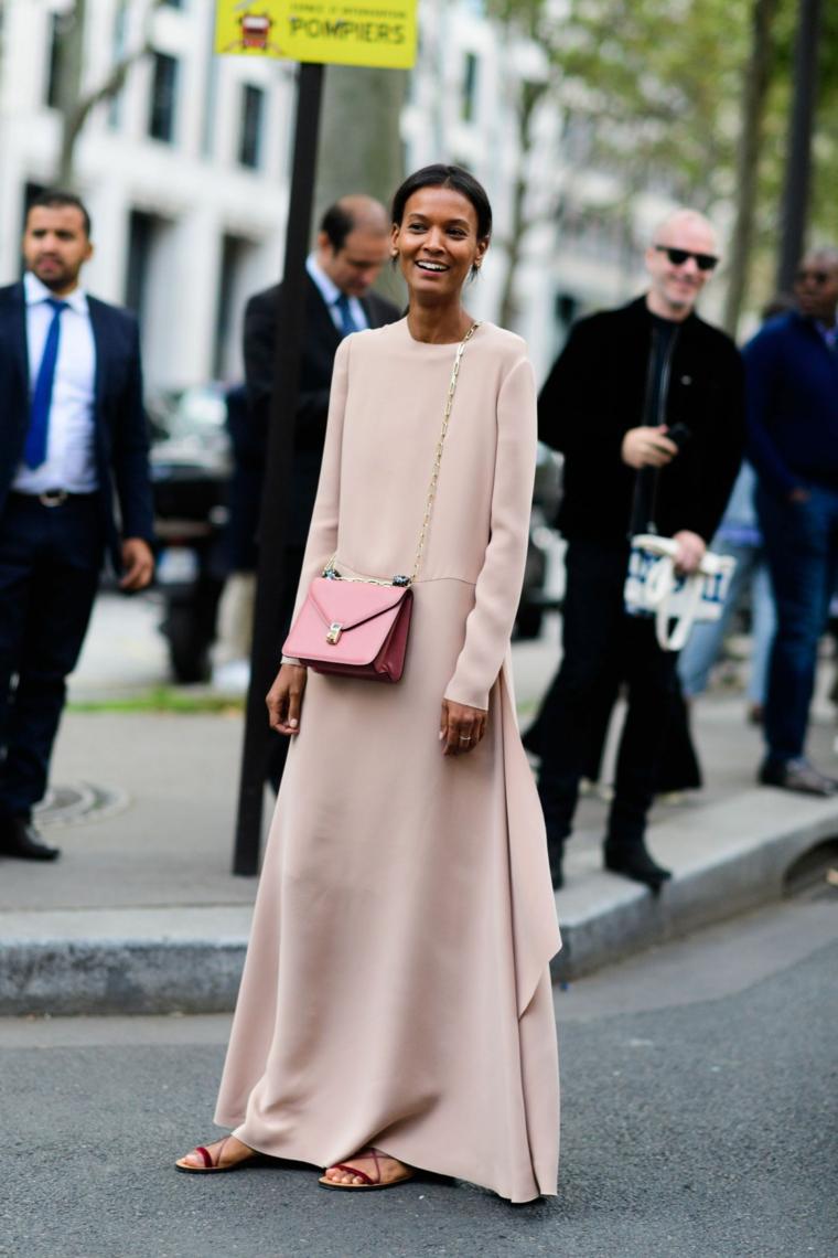 Abiti da sera lunghi, vestito di seta rosa, abito a manica lunga, borsa di pelle tracolla