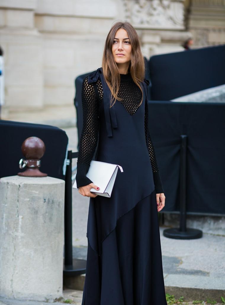 Vestiti lunghi eleganti economici, abito di seta blu navy, manica a rete nera, capelli castani mossi