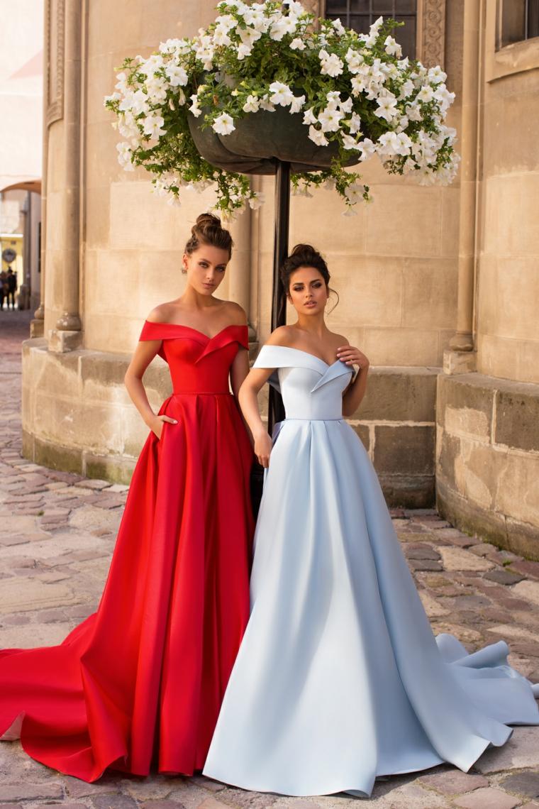 Abiti eleganti principeschi, vestito rosso e bianco, due modelle, gonna a ruota vita alta