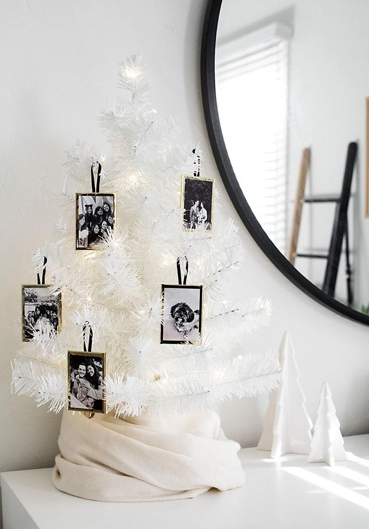 Idee regalo per fidanzata, mini albero di Natale bianco, regalo portafoto da appendere