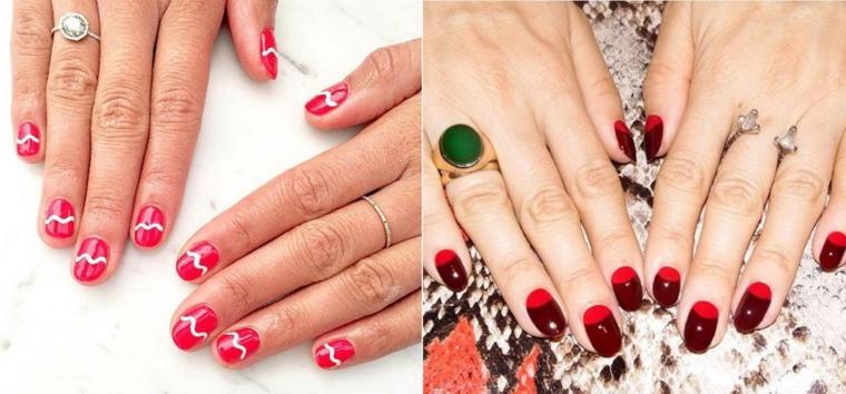 Unghie a mandorla, french manicure inversa, unghie rosse eleganti