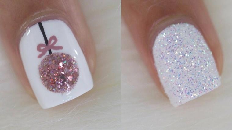 Smalto bianco effetto bianco, disegno pallina colore rosa, ricostruzione unghie natalizie
