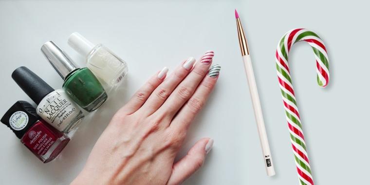 Bastoncino natalizio di zucchero, pennello per manicure, unghie forma quadrata, unghie gel semplici
