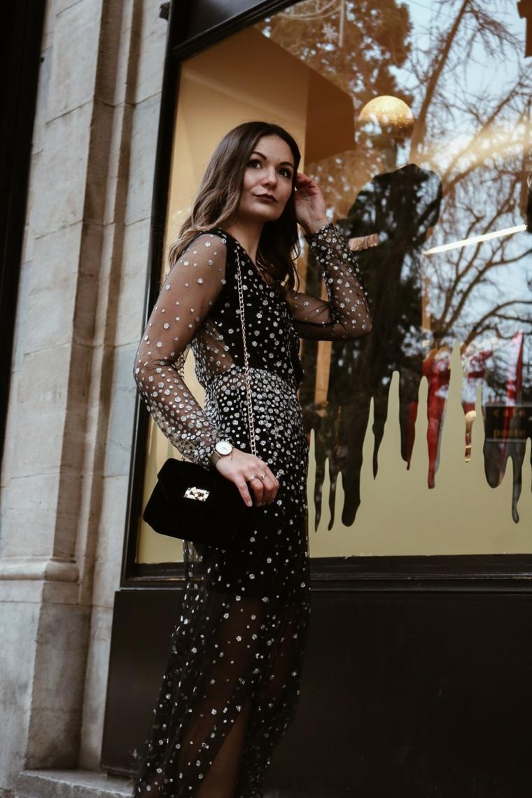 Abiti da cerimonia lunghi economici, donna con vestito nero, abito con lustrini argento