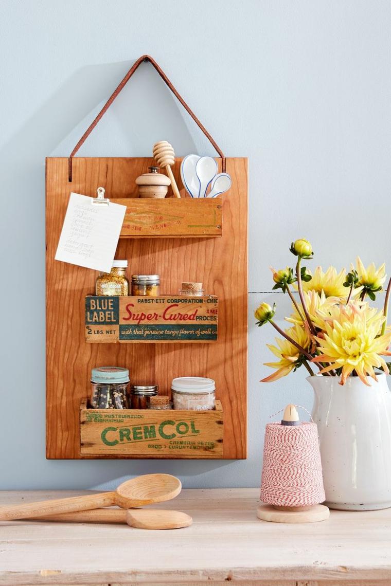 Mensola di legno da parete, mestoli di legno, idee regalo uomo 50 anni, vaso di fiori
